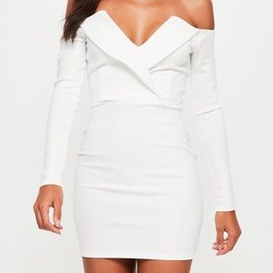 MISSGUIDED BARDOT WHITE DRESS